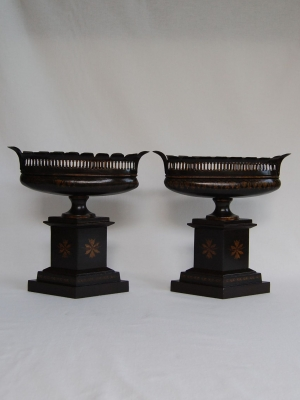 Pair Reproduction Tole Mantle Urns