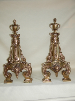 Pair Polished Bronze Chenet