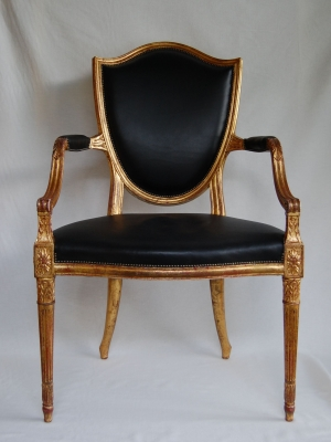 Gilt & Carved Open Arm Chair
