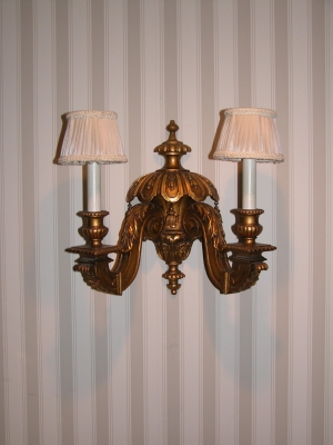 Pair Gilt Two Light Wall Sconces