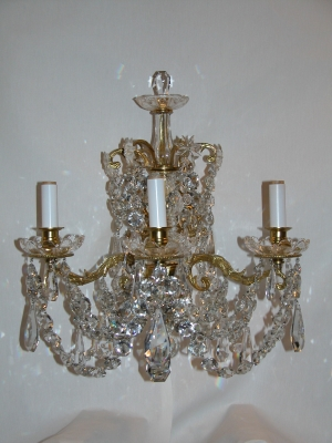 Pr French Bronze and Crystal Sconces