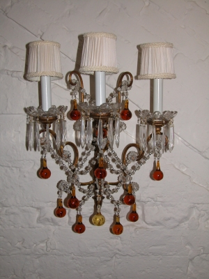 Pr. Italian Iron & Wood Sconces w/ Crystal Drops
